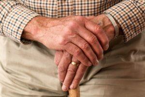 closeup of senior man's hands