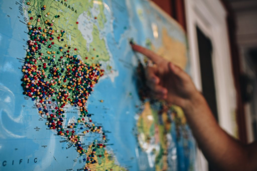 Map with many pins in USA